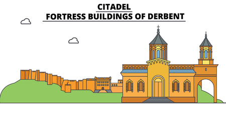 Russia, Dagestan, Derbent, Citadel, flat landmarks vector illustration. Russia, Dagestan, Derbent, Citadel line city with famous travel sights, design skyline.