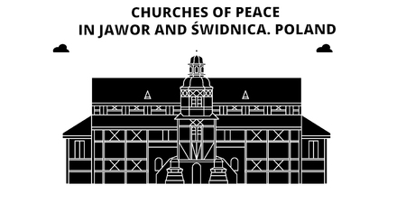 Poland , Jawor And Swidnica, Churches Of Peace, flat landmarks vector illustration. Poland , Jawor And Swidnica, Churches Of Peace line city with famous travel sights, design skyline.