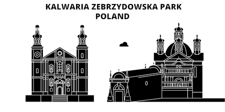 Poland , Kalwaria Zebrzydowska Park, flat landmarks vector illustration. Poland , Kalwaria Zebrzydowska Park line city with famous travel sights, design skyline. 向量圖像