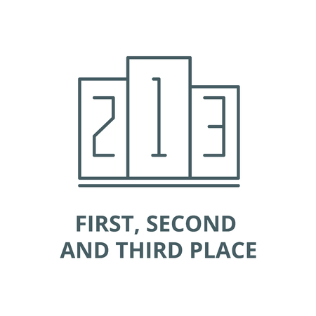 First, second and third place vector line icon, linear concept, outline sign, symbol Archivio Fotografico - 122347009