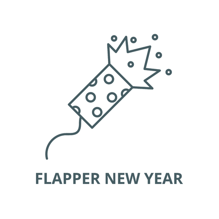 Flapper new year vector line icon, outline concept, linear sign