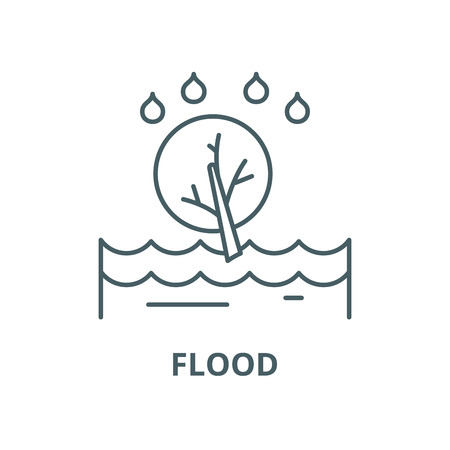 Flood vector line icon, outline concept, linear sign