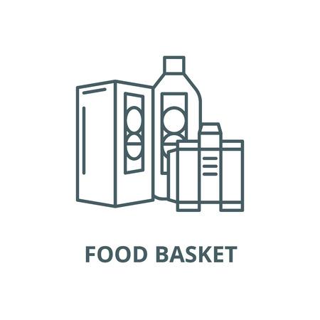 Food basket vector line icon, outline concept, linear sign Standard-Bild - 122347020