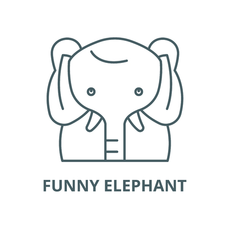 Funny elephant vector line icon, outline concept, linear sign Illustration