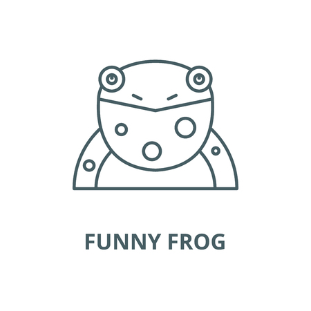 Funny frog vector line icon, outline concept, linear sign