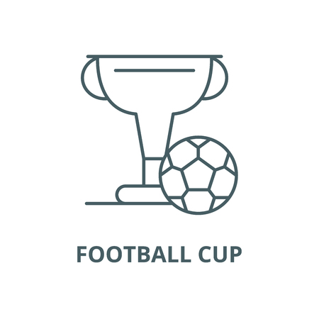 Football cup vector line icon, outline concept, linear sign 일러스트