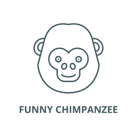 Funny chimpanzee vector line icon, outline concept, linear sign