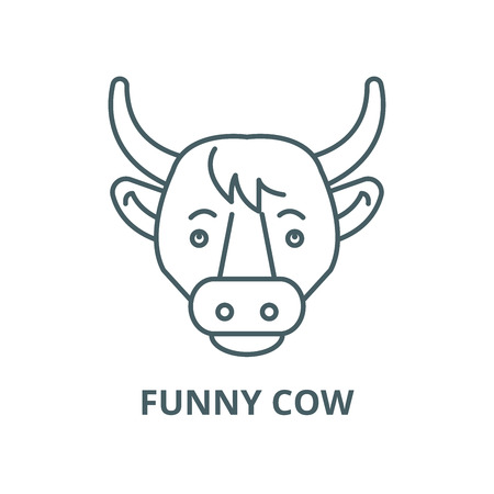 Funny cow vector line icon, outline concept, linear sign
