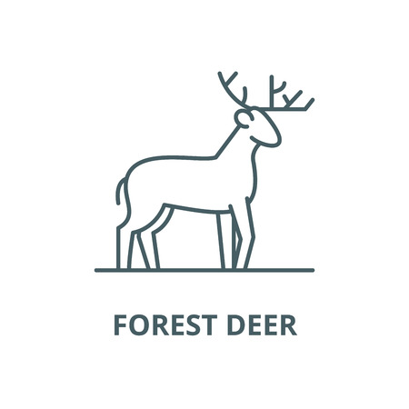 Forest deer vector line icon, outline concept, linear sign