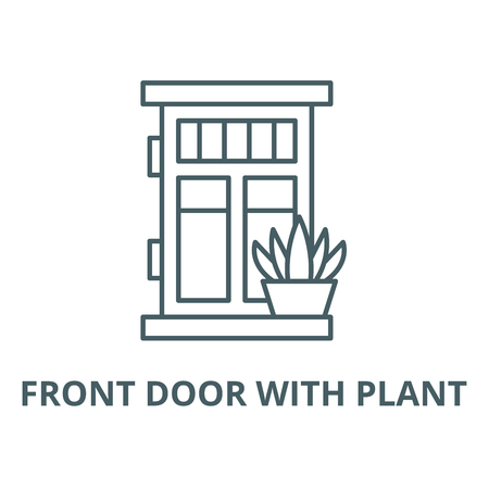 Front door with plant vector line icon, outline concept, linear sign 일러스트