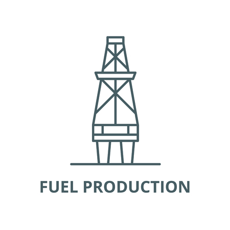 Fuel production vector line icon, outline concept, linear sign