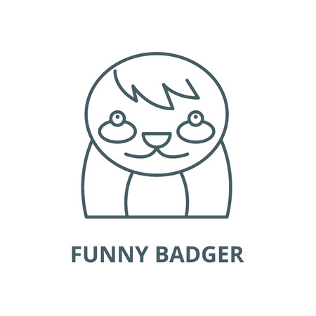 Funny badger vector line icon, outline concept, linear sign