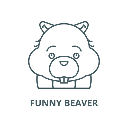 Funny beaver vector line icon, outline concept, linear sign Vettoriali