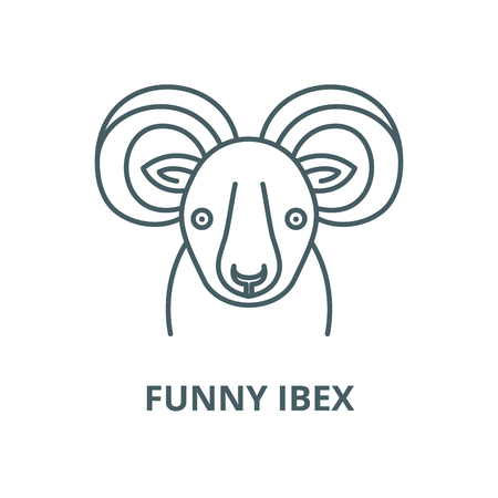Funny ibex vector line icon, outline concept, linear sign