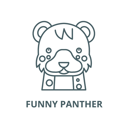 Funny panther vector line icon, outline concept, linear sign Stock Illustratie