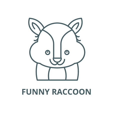 Funny raccoon vector line icon, outline concept, linear sign