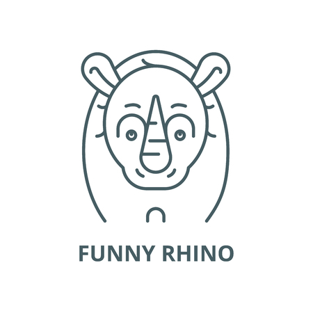 Funny rhino vector line icon, outline concept, linear sign