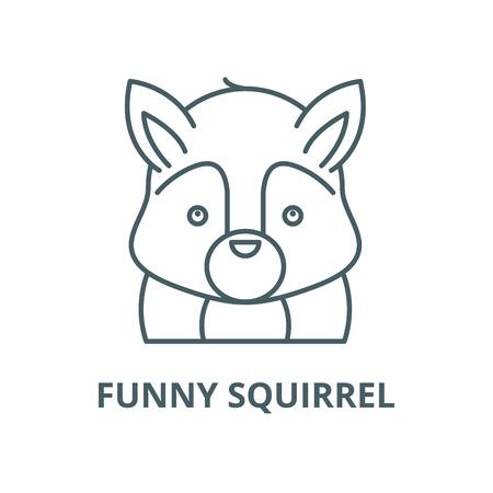 Icono de línea de vector de ardilla divertida, concepto de contorno, signo lineal Ilustración de vector