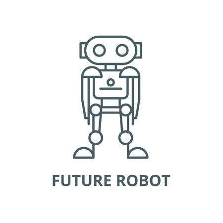 Future robot vector line icon, outline concept, linear sign