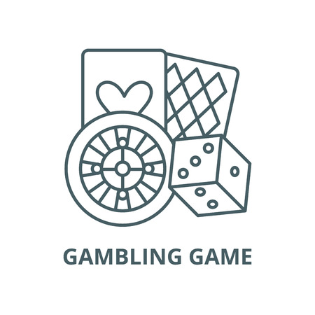 Gambling game vector line icon, outline concept, linear sign Çizim