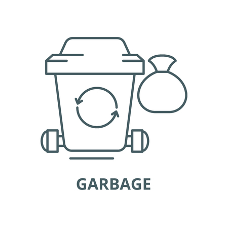 Garbage vector line icon, outline concept, linear sign Illustration