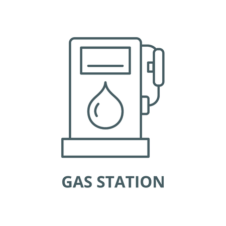 Gas station vector line icon, outline concept, linear sign Ilustrace