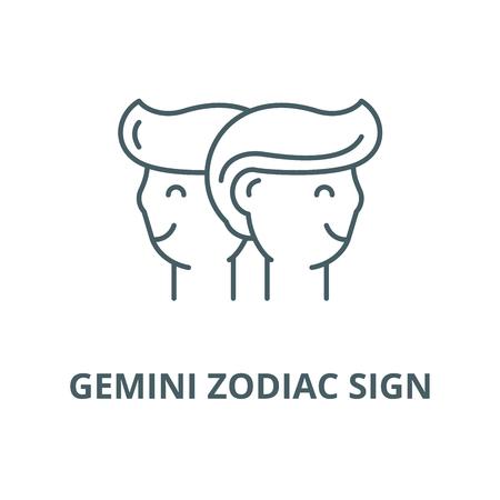 Gemini zodiac sign vector line icon, outline concept, linear sign Stock Vector - 122347318