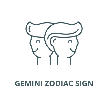 Gemini zodiac sign vector line icon, outline concept, linear sign Illustration