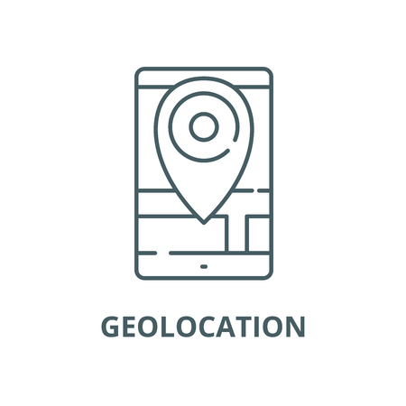 Geolocation vector line icon, outline concept, linear sign