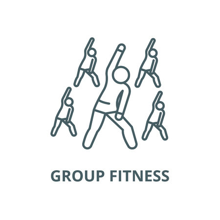 Group fitness vector line icon, outline concept, linear sign