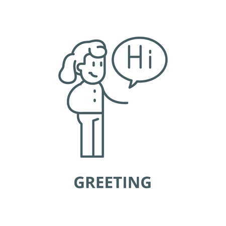 Greeting vector line icon, outline concept, linear sign Ilustracja