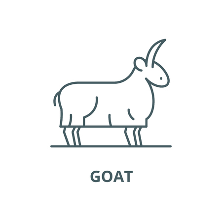 Goat vector line icon, outline concept, linear sign