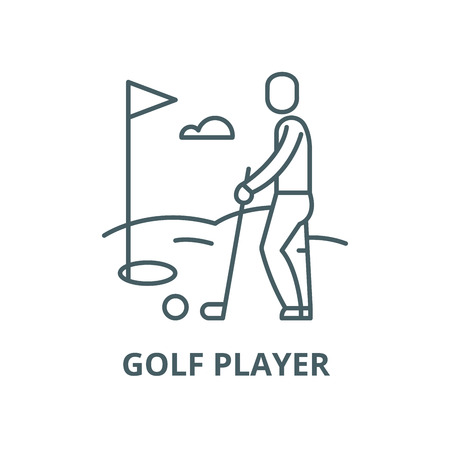 Golf player vector line icon, outline concept, linear sign Stock Illustratie