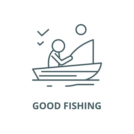 Good fishing vector line icon, outline concept, linear sign
