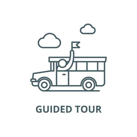 Guided tour vector line icon, outline concept, linear sign Illusztráció