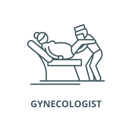 Gynecologist vector line icon, outline concept, linear sign