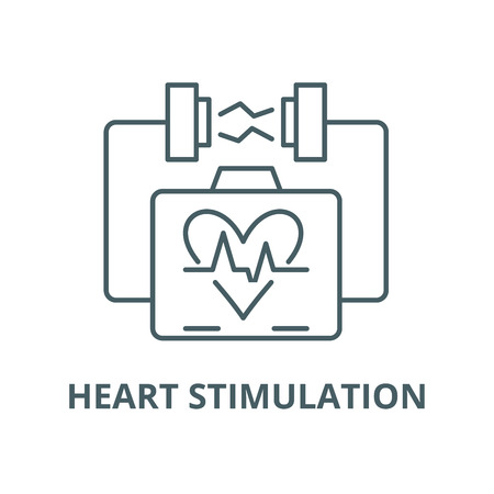 Heart stimulation vector line icon, outline concept, linear sign