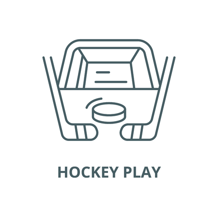 Hockey play vector line icon, outline concept, linear sign