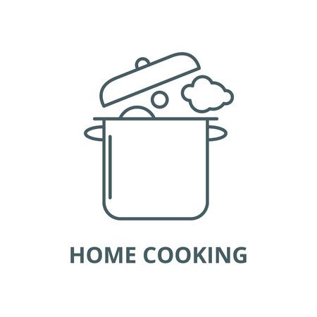 Domowe gotowanie wektor linii ikona, koncepcja konspektu, liniowy znak