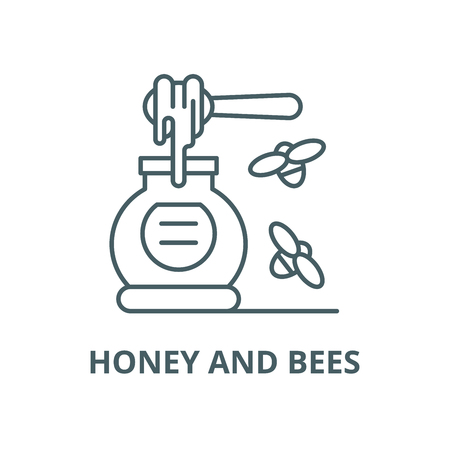 Honey and bees vector line icon, outline concept, linear sign