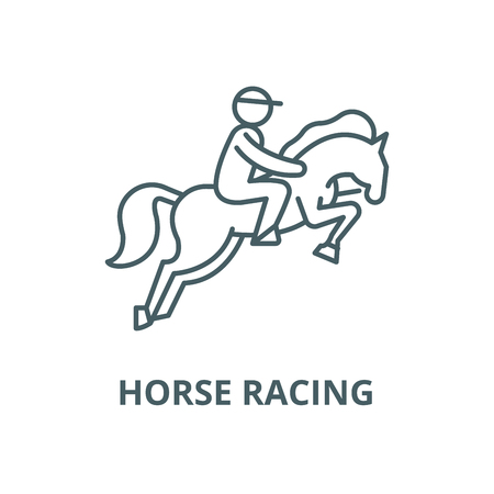 Horse racing vector line icon, outline concept, linear sign Illustration
