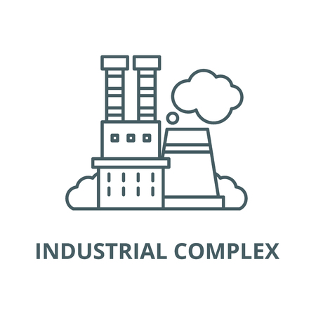 Industrial complex vector line icon, outline concept, linear sign
