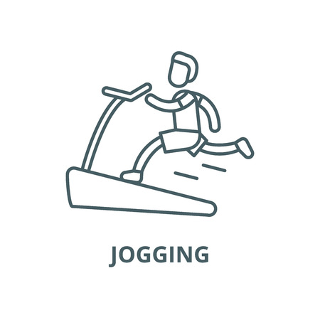 Jogging on the treadmill vector line icon, outline concept, linear sign Imagens - 122347481