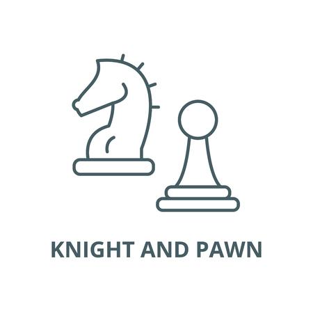 L'icône de la ligne du vecteur chevalier et pion, concept de contour, signe linéaire