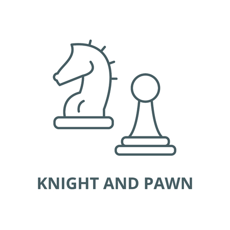 Knight and pawn vector line icon, outline concept, linear sign