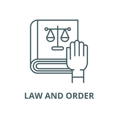 Law and order vector line icon, outline concept, linear sign