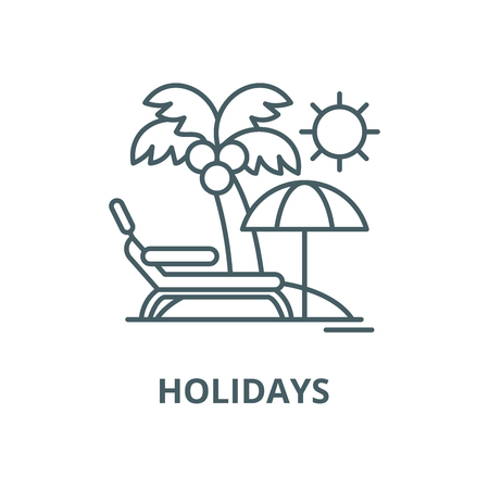 Holidays by the sea vector line icon, outline concept, linear sign