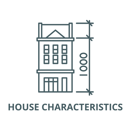 House characteristics vector line icon, outline concept, linear sign Imagens - 122347494