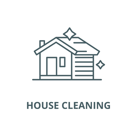 House cleaning vector line icon, outline concept, linear sign Illustration