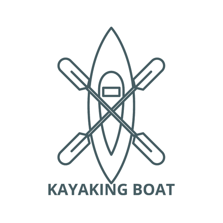 Kayaking boat vector line icon, outline concept, linear sign Illusztráció